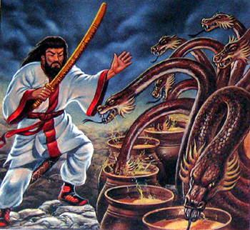 Сусаноо убивает змея