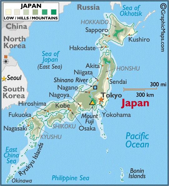 Фудзияма на карте Японии